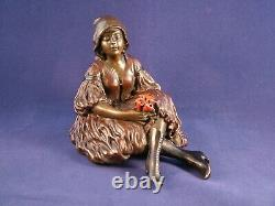 Rare Franz Bergman Erotic Austrian Cold Painted Bronze Girl with a Posy, Signed