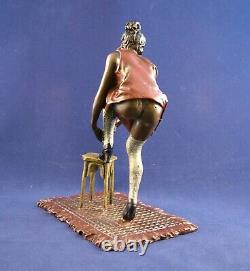 Rare Franz Bergman Erotic Austrian Cold Painted Bronze Girl with stool, Signed