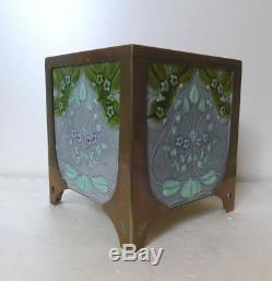 Rare Pair Art Nouveau Secessionist Majolica Brass Mounted Planters Jugendstil