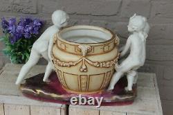Rare XL Antique Amphora Marked pottery Group art nouveau planter vase