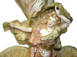 Royal Dux Amphora Art Nouveau 23 Femme aux Feuillages Lady Centerpiece Figurine