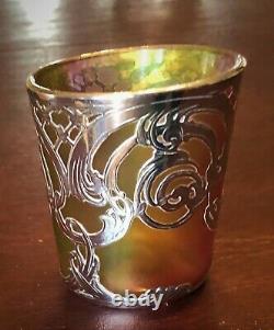 SIGNED LA PIERRE / Loetz attr. AUSTRIAN IRIDESCENT GREEN GLASS STERLING OVERLAY