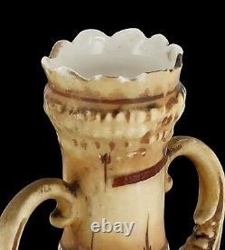 Striking Antique Teplitz Art Nouveau Amphora Pair Austrian Organic Corn Forms 7