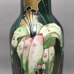 Stunning Art Nouveau CARL KNOLL KARLSBAD Austrian Gilt Porcelain Vase Lily 16