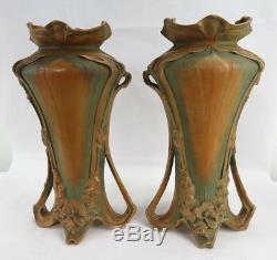 Stunning Georg Klimt Floriform 2 vase amphora Turn Teplitz Bohemia Art Nouveau