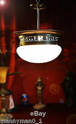 Stunning all original Austrian 1930 Art Nouveau Vienne glass ceiling light lante