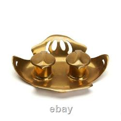 Stylish Art Nouveau Austrian Brass Inkwell C. 1900