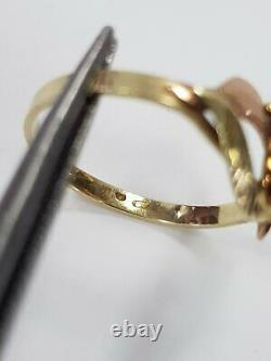 Stylish Austrian 14k gold ring with red coral Art Nouveau