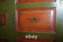 Sumlime Hand Painted Green Austrian Circa 1800 Hall Cupboard Wardrobe Floral