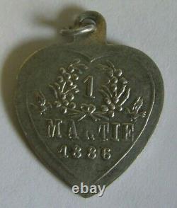 Superb Art Nouveau Antique Austrian Silver Swan Heart Charm Pendant 1886 Martie