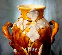 Superb Rare Large Relief Austrian Secessionist / Art Nouveau Flower Vase Iris