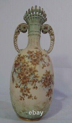 Tall RSK Turn Teplitz Amphora Austria Art Nouveau Porcelain Handled Vase