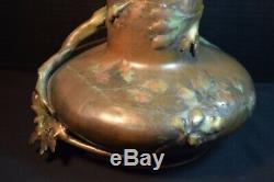 Teplitz Imperial Amphora Austrian Art Nouveau Pottery Vase with Owl