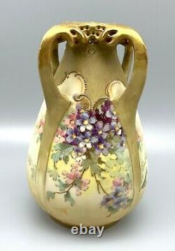 Teplitz RStK Art Nouveau 7 Floral Amphora Vase Serpent Dragon Heads