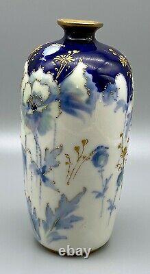 Teplitz RStK Stellmacher Art Nouveau 7 Blue & Green Flowers Amphora Vase