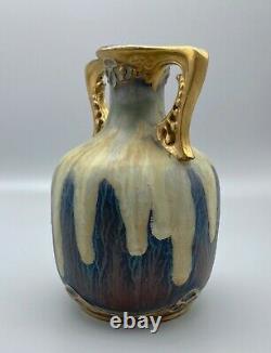 Teplitz RStK Stellmacher Art Nouveau 7 Icy Drip Amphora Vase