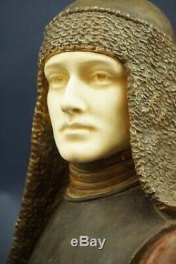 Terracotta bust Knight Bourbon lily Helmet 1800 XIX Goldscheider Austria Vienna