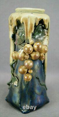 Turn-Teplitz Amphora Edda Purple Blue Iridescent Gold Grapes Vase C1899-1900