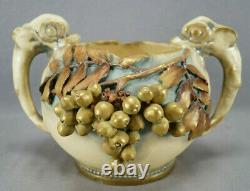 Turn-Teplitz Amphora Gold Blueberries & Dolphin Handle Jardiniere Vase C. 1900