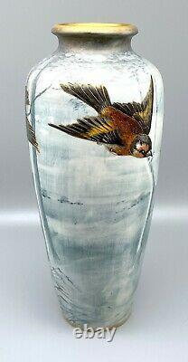 Turn Teplitz Art Nouveau Amphora Birds in Snowy Forest Landscape Vase Wahliss