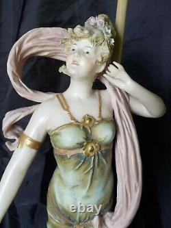 Turn Teplitz Bohemia Amphora Art Nouveau Porcelain Ladies Lamps Gorgeous