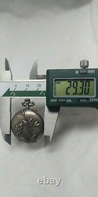 VERY RARE Art nouveau Austrian Silver pocket watch with flower engraving