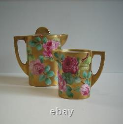 VNTG Gilded Ernst Wahliss Art Nouveau Teplitz Pottery Coffee Pot CREAMER SIGNED