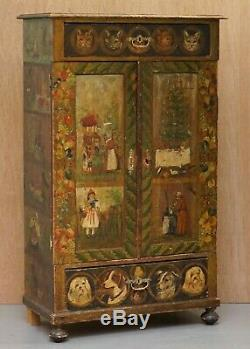 Very Rare Hand Painted Austrian Circa 1820 Small Linen Closed Cupboard Cats Dogs