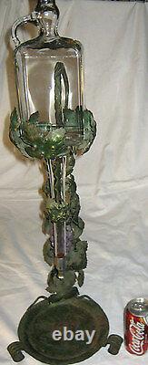 Vintage Art Nouveau Bronze Flower Austria Wine Liquor Glass Bottle Bar Decanter