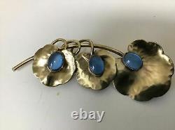 Vintage Art Nouveau Deco Czech Austrian Bronze Brass Blue Moon Stone Brooch