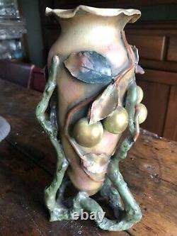 Vintage Art Nouveau signed Amphora Fruit 9 3/4 Vase exc Teplitz Austria