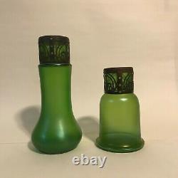 Vintage Green Austrian/Czech Art Nouveau Glass Vases (1910s)