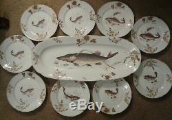 Vintage Hand Painted Austrian 10 Pc Fish Set 23 Platter And Nine 8 Diam Plates