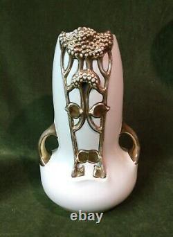 Vintage Organic Art Nouveau Austria Pottery Amphora Vase Signed Julius Dressler