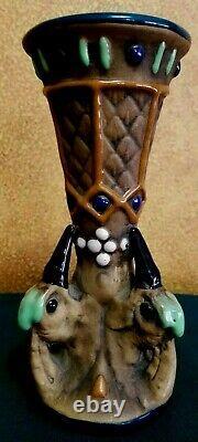 Vintage c 1900 AMPHORA-TEPLITZ Pottery Tri-Woodpecker Vase Austria Czech