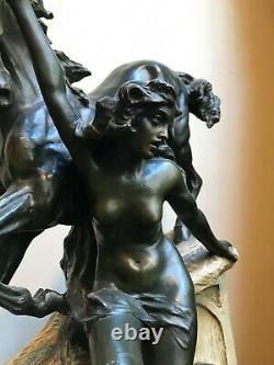 XLarge 24.5 Goldscheider style Viennese Figurine ceramic Art Nouveau bronze